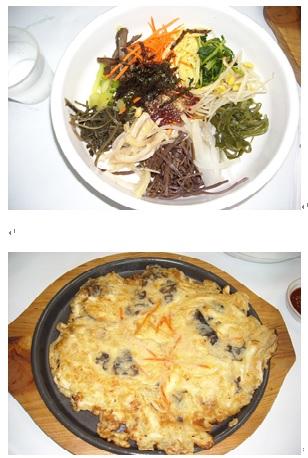 山菜ビビンバとキノコのジョン