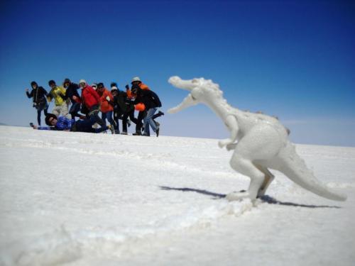 ウユニ塩湖でトリック撮影
