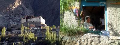 藩王宮殿(左)と村人の住まい(右)