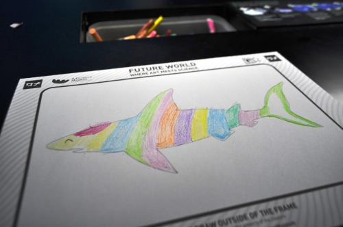 サメ塗り絵完成