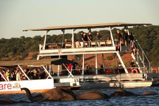 ゾウの川渡りを見るボートクルーズ