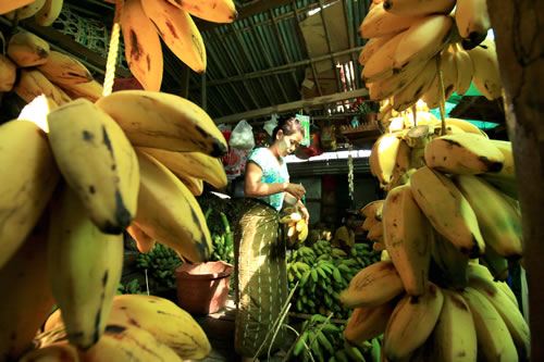 ニャウンウー市場 バナナ