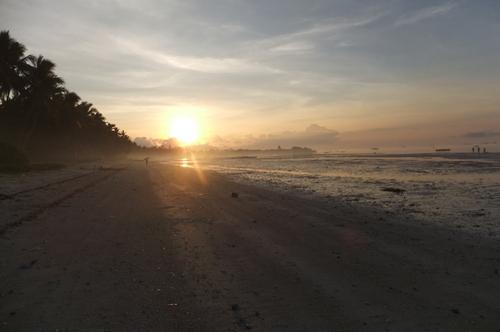 朝日に映えるビーチ