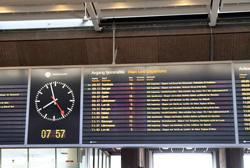 オスロ駅 時刻表2