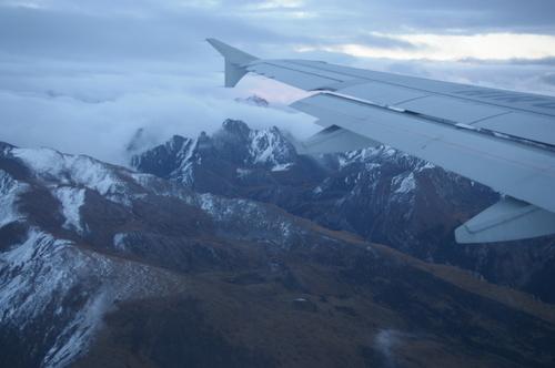 山岳地にある九寨黄龍空港へ降立つ