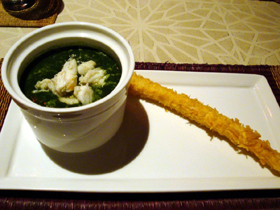 カニ春巻きとほうれん草のスープ